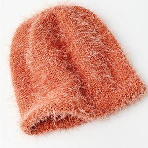 Urban Outfitters Eyelash Knit Beanie Orange NEW